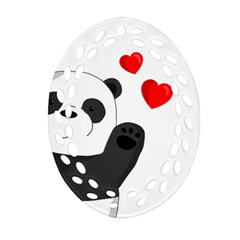 Cute Panda Oval Filigree Ornament (two Sides) by Valentinaart