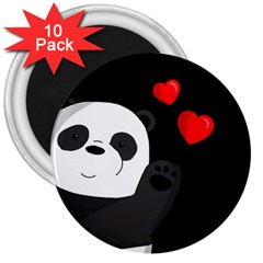 Cute Panda 3  Magnets (10 Pack)  by Valentinaart