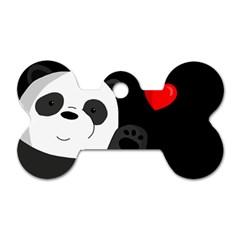 Cute Panda Dog Tag Bone (one Side) by Valentinaart