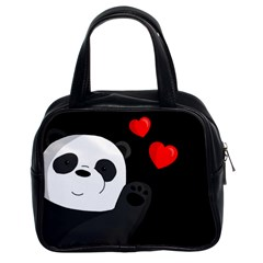 Cute Panda Classic Handbags (2 Sides) by Valentinaart