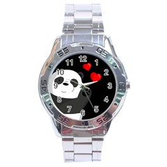 Cute Panda Stainless Steel Analogue Watch by Valentinaart