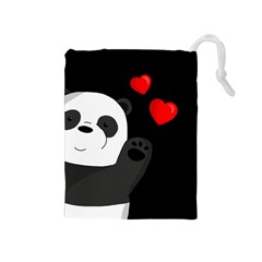 Cute Panda Drawstring Pouches (medium)  by Valentinaart