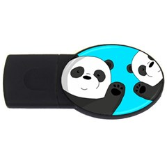 Cute Pandas Usb Flash Drive Oval (4 Gb) by Valentinaart