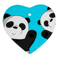 Cute Pandas Heart Ornament (two Sides) by Valentinaart