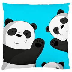 Cute Pandas Large Flano Cushion Case (two Sides) by Valentinaart