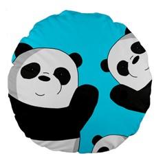 Cute Pandas Large 18  Premium Flano Round Cushions by Valentinaart
