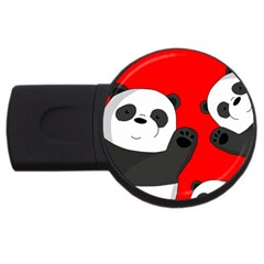 Cute Pandas Usb Flash Drive Round (4 Gb) by Valentinaart