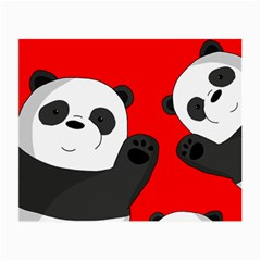 Cute Pandas Small Glasses Cloth (2 Side) by Valentinaart