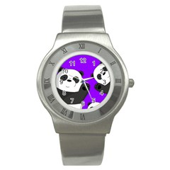 Cute Pandas Stainless Steel Watch by Valentinaart