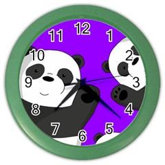 Cute Pandas Color Wall Clocks