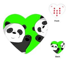 Cute Pandas Playing Cards (heart)  by Valentinaart