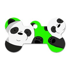 Cute Pandas Dog Tag Bone (one Side) by Valentinaart