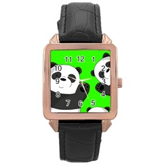 Cute Pandas Rose Gold Leather Watch  by Valentinaart
