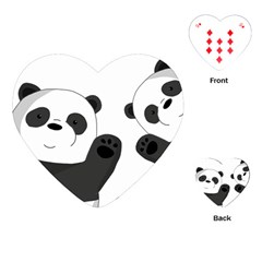 Cute Pandas Playing Cards (heart)  by Valentinaart