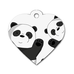 Cute Pandas Dog Tag Heart (two Sides) by Valentinaart