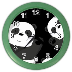 Cute Pandas Color Wall Clocks by Valentinaart