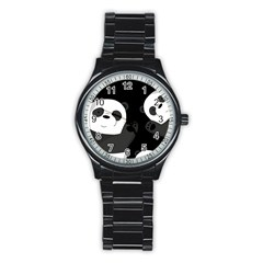 Cute Pandas Stainless Steel Round Watch by Valentinaart