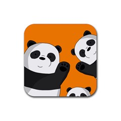 Cute Pandas Rubber Square Coaster (4 Pack)  by Valentinaart