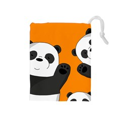 Cute Pandas Drawstring Pouches (medium)  by Valentinaart