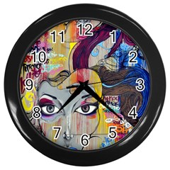 Graffiti Mural Street Art Painting Wall Clocks (black)