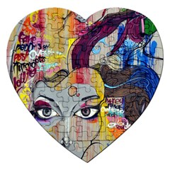 Graffiti Mural Street Art Painting Jigsaw Puzzle (heart)