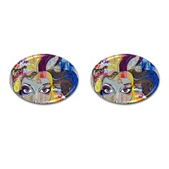 Graffiti Mural Street Art Painting Cufflinks (oval)