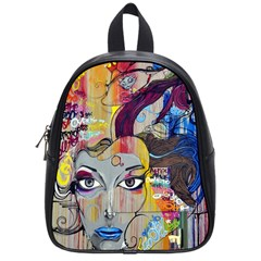 Graffiti Mural Street Art Painting School Bag (small) by BangZart