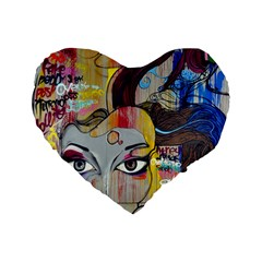Graffiti Mural Street Art Painting Standard 16  Premium Heart Shape Cushions