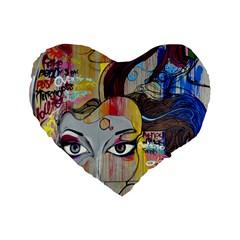 Graffiti Mural Street Art Painting Standard 16  Premium Flano Heart Shape Cushions by BangZart
