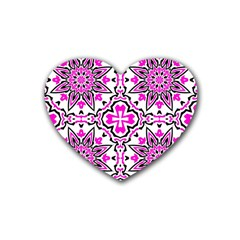 Oriental Pattern Rubber Coaster (heart)  by BangZart