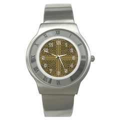 Seamless Pattern Design Texture Stainless Steel Watch by BangZart