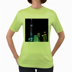 Shanghai Oriental Pearl Tv Tower Women s Green T Shirt