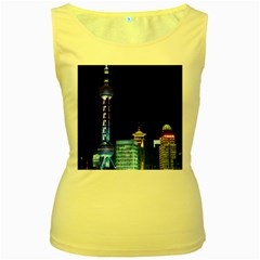 Shanghai Oriental Pearl Tv Tower Women s Yellow Tank Top
