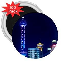 Shanghai Oriental Pearl Tv Tower 3  Magnets (100 Pack)