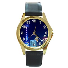 Shanghai Oriental Pearl Tv Tower Round Gold Metal Watch by BangZart