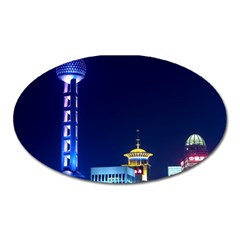 Shanghai Oriental Pearl Tv Tower Oval Magnet by BangZart