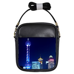 Shanghai Oriental Pearl Tv Tower Girls Sling Bags by BangZart