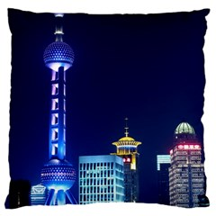 Shanghai Oriental Pearl Tv Tower Large Cushion Case (one Side) by BangZart
