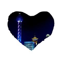 Shanghai Oriental Pearl Tv Tower Standard 16  Premium Heart Shape Cushions