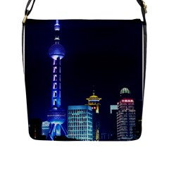 Shanghai Oriental Pearl Tv Tower Flap Messenger Bag (l)  by BangZart
