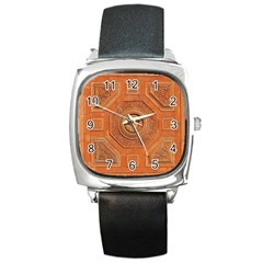 Symbolism Paneling Oriental Ornament Pattern Square Metal Watch