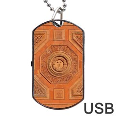 Symbolism Paneling Oriental Ornament Pattern Dog Tag Usb Flash (one Side)