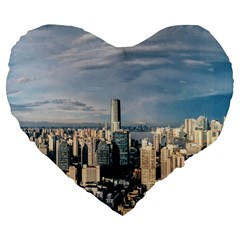 Shanghai The Window Sunny Days City Large 19  Premium Heart Shape Cushions by BangZart