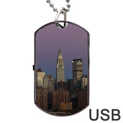 Skyline City Manhattan New York Dog Tag Usb Flash (one Side)