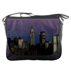 Skyline City Manhattan New York Messenger Bags by BangZart