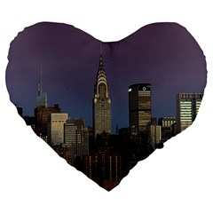 Skyline City Manhattan New York Large 19  Premium Heart Shape Cushions by BangZart