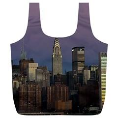 Skyline City Manhattan New York Full Print Recycle Bags (l)