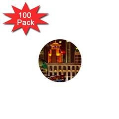 Shanghai Skyline Architecture 1  Mini Buttons (100 Pack)