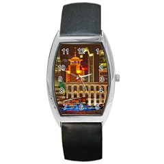 Shanghai Skyline Architecture Barrel Style Metal Watch by BangZart