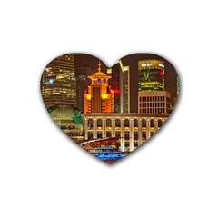 Shanghai Skyline Architecture Rubber Coaster (heart)